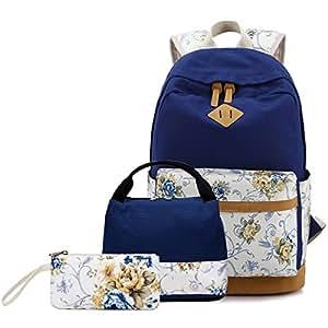 fad1c19dbe3e5 Mädchen Damen Canvas Schulrucksack Set Teenager Kinder Jugendliche Rucksack Schultasche  +Schultertasche Messenger Bag