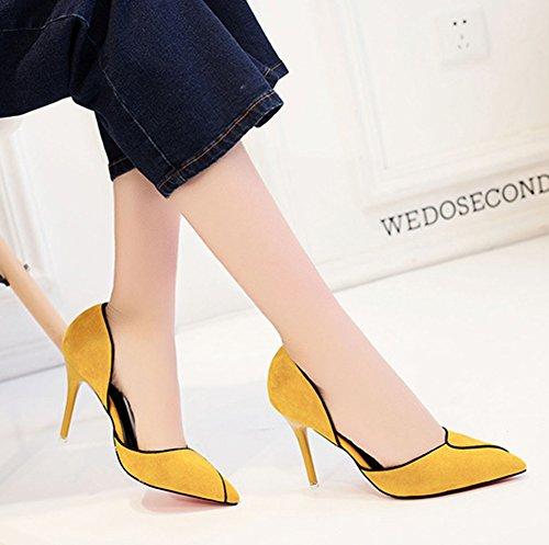Aisun Damen Klassisch Spitz Zehen Geschlossen Stiletto High Heels Offene Sandale Gelb