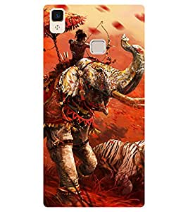Chiraiyaa Designer Printed Premium Back Cover Case for Vivo V3 (Fighter ramayana mahabharat elephant) (Multicolor)