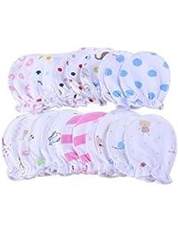 Paquete de 5 pares de mitones recién nacidos de bebé Pastel scrrt algodón mitones 0-6 meses
