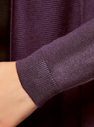 oodji Collection Damen Langer Cardigan mit Fließenden Seiten Violett (8800N)