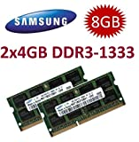8GB Dual Channel Kit SAMSUNG original 2 x 4 GB 200 pin DDR3-1333 (1333Mhz, PC3-10600, CL9) SO-DIMM für Core i3 + i5 + i7 Notebooks