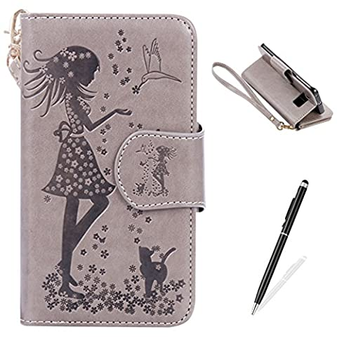 Feeltech Samsung Galaxy S6 Edge Case [Free 2 in 1 Stylus] PU Leather Wallet Style With Card Slot Magnetic Closure HybridKickstand Stand Function Protective Flip Cover Elegant Lovely girl and Flowers Embossed Pattern With Hand Wrist Strap Book Style For Samsung Galaxy S6 Edge - Grey