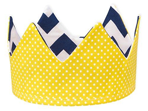KraftKids Stoffkrone weiße Punkte auf Gelb Chevron dunkelblau, stylische Geburtstags-Krone für Kinder mit Klettverschluss, beidseitig mit Muster verziert