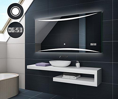 Design Badspiegel mit LED Beleuchtung von Artforma | Wandspiegel Badezimmerspiegel | DIGITAL LED UHR + TOUCH SCHALTER