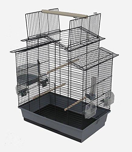 Vogelkäfig Wellensittich Kanarien mit Freisitz & Zubebör schwarz grau