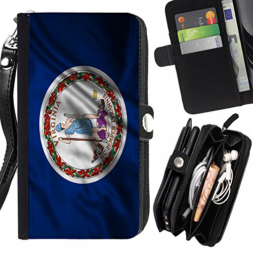 FJCases Virginia The Old Dominion State Wehende Flagge Handschlaufe und Reißverschluss Hülle Schutzhülle für HTC One Mini 2 Old Virginia Mini