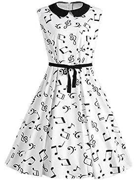 Vestido Sin Mangas de Mujer Notas Musicales Impreso Cuello Retro Verano Falda Suelta M¨¢s el Tama?o de liquidaci¨®n