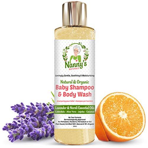 All Natural & Organic Shampoo e bagnoschiuma per neonati Lavanda e Neroli 100% naturale con il 76% di sapone biologico per neonati e bambini