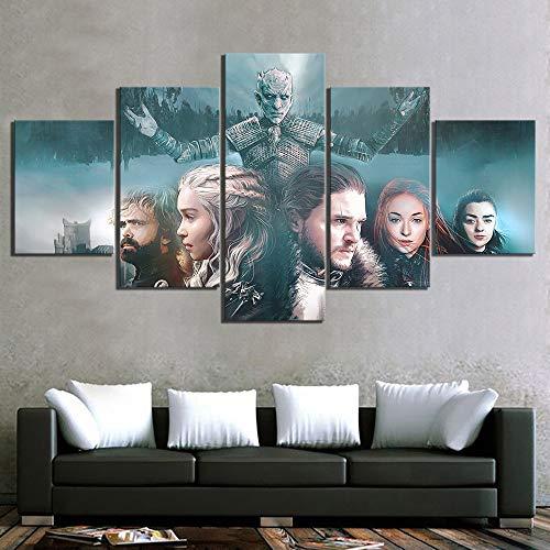 5 Stück Fantasie-Kunst Gemälde Game of Thrones Film Poster EIN Lied von EIS und Feuer Poster HD Segeltuch Gemälde für Wanddekor,B,40 * 60 * 240 * 80 * 240 * 100 * 2 - Film-kunst-galerie