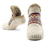 Slipper Fluffy Socks for Women Men Heat Holding Sock Knitted Socks Wool Sherpa Fuzzy Bed Slippers Size 5-8 Non Slip