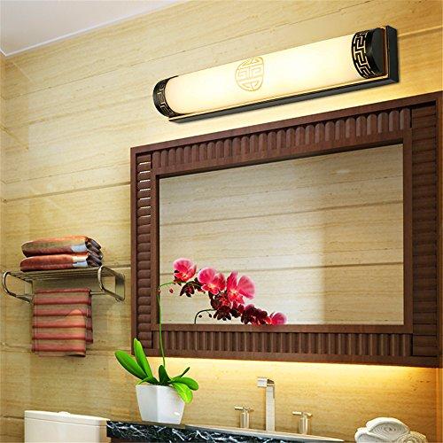Amadoierly Neue Chinesische Spiegel Scheinwerfer Vintage Europäischen Spiegel Badezimmer Wandleuchte Bad Gespiegelte Schrank Chinesische Lampen Led Make-Up Lampe Schwarz, 50 cm, 14 Watt -