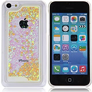 iPhone 5C Case, iPhone 5C Cover, AcenX(TM) 3D Creative Design Flowing Floating Liquid Small Love Hearts Bling Glitter Sparkly Stars Quicksand Hard Transparent Clear Crystal Back Case Cover for Apple iPhone 5C (Love Hearts Yellow)