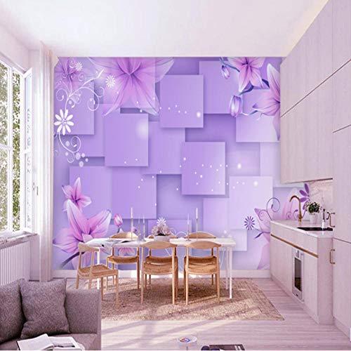 Dalxsh carta da parati 3d viola fiore carta da parati camera da letto soggiorno decorazione camera da letto stereo mattoni puzzle carta da parati murale-350x250cm