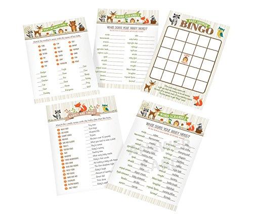Lillian Rose Woodland Baby Dusche Spiel Karten, neutral, 12,7x 17,8cm