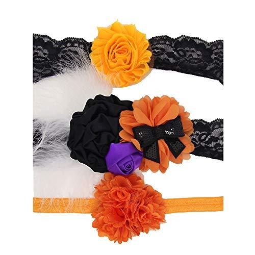 Huhu833 3 Stück Baby Stirnbänder Halloween Kleinkind Mädchen Blume Kaninchen Ohren Kopfschmuck (A)