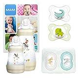 MAM First Steps Set, kit naissance nourrisson, cadeau de naissance 2 biberons Easy Start anti-colique (160/260mL), 4 tétines Original silicone 2x 0-6 mois, 2x 6+, unisexe