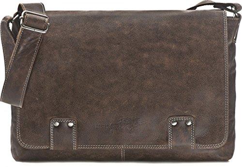 REBELS & LEGENDS, Cntmp, Unisex - Leder Messengerbags, Business-Bags, Aktentaschen, Handtaschen, Schultertaschen, Umhängetaschen, DIN-A4, 36x30x8cm (B x H x T), Farbe:Braun (Dunkelbraun)