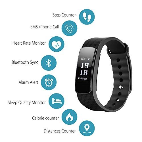 Mpaw Pulsera Inteligente con Monitor de Pulso Cardiaco Pedómetro de Actividad Pulseras inteligentes Fitness Rastreador del Sueño Smartwatch con Pantalla Táctil Impermeable Para Teléfonos Inteligentes de Android e iOS