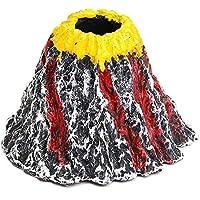 BigTron Decoraciones de Acuario, Air Stone Bubbler Volcano Shape Ornamento Kit Set con LED Rojo Spotlight para Decorar Acuario Fish Tank