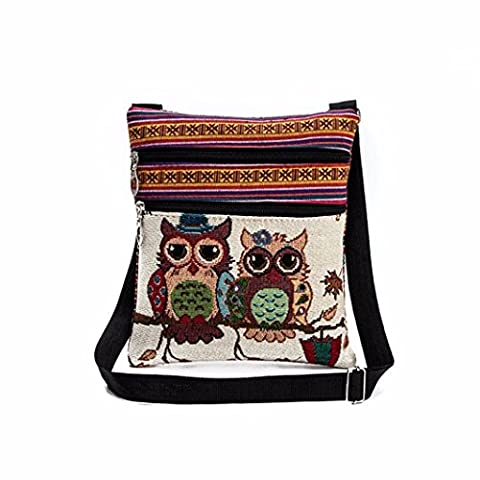 HLHN Women Cute Kids Embroidered Holder Bag Linen Owl Tote Postman Package Handbag (A)
