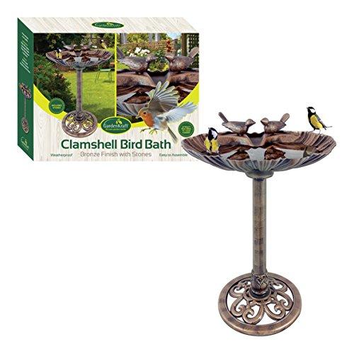 GardenKraft 23940 plastica a Conchiglia in Metallo Bronzo, Design Bird Bath con Pietre