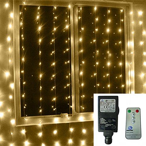 [Remote & Low Voltage] 3 m x 3 m 300 LED Outdoor-Schnur-Fee Festival Hochzeit Vorhang-Licht für Weihnachten Home Garten-Dekorationen, 8 Modi Regler mit Timer (Warmweiß) (Outdoor-led-low-voltage-beleuchtung)
