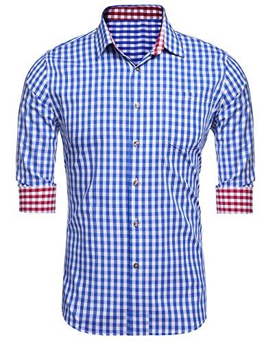 Burlady Herren Hemd Kariert Regular Fit Trachtenhemd Bügelleicht Freizeithemd Hemd Männer (XL, 46-Blau)