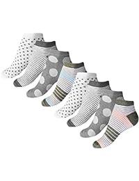 8 Paar Damen Sneaker Socken Quatersocks mit Komfortbund Punkte und Ringel Größen 35-38 oder 39-42
