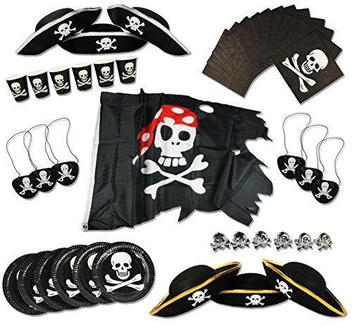 Preisvergleich Produktbild COM-FOUR® Piraten-Geburtstagsfeier-Set für bis zu 6 Kinder - Piratenhut, Augenklappe, Ringe, Flagge, Teller, Becher, Servietten (43-teilig)