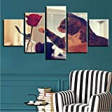 gwgdjk Canvas Painting On Home Decoration Modern 5 Panel Red Rose Cat per Living Room Wall Art Immagini Poster Stampati Hd-30X40/60/80Cm,Without Frame