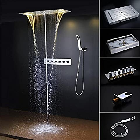 hm LED Bad Dusche Combo mit thermostatische Mischer, Decke Dusche Kopf 27.5X15 Zoll (70X38cm) Niederschlag Wasserfall-Massage