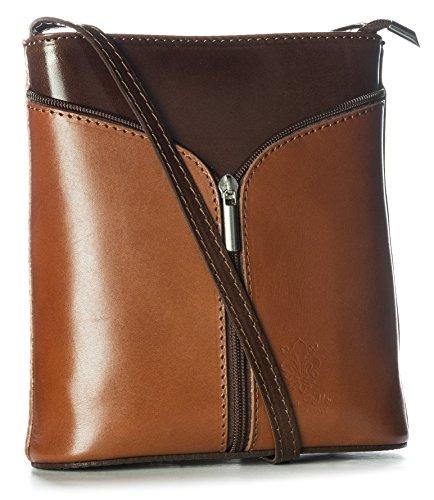 Big Handbag Shop Borsetta piccola a tracolla, vera pelle italiana Medium Tan - Dark Tan
