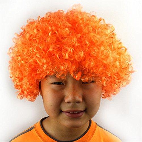 Queenbox Lockiges Haar Perücke Regenbogen Afro Clown Perücke -