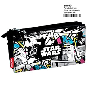 Disney Star Wars 55190, Estuche con tres compartimentos, multicolor