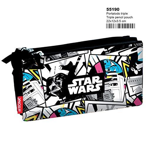 Disney Star Wars 55190, Estuche con tres compartimentos, multicolor