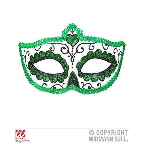maske Dia de los Muertos mit Borte und Glitzer in weiß - grün - schwarz / Halloween / Fasching ()