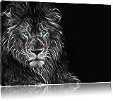 Dark Abstrakter Löwe schwarz/weiß Format: 120x80 auf Leinwand, XXL riesige Bilder fertig gerahmt mit Keilrahmen, Kunstdruck auf Wandbild mit Rahmen, günstiger als Gemälde oder Ölbild, kein Poster oder Plakat