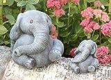 Tiefes Kunsthandwerk Steinfigur Elefanten 2er Set - Schiefergrau, Deko, Figur, Garten, Stein, frostsicher