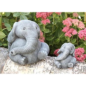Garden Ornament Elephant, Set Of 2, Cast Stone, Slate Gray