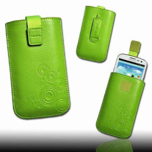 Handy Tasche Kunstleder grün mit Zugband M13 für Motorola RAZR Maxx / ZTE Tania / Mobistel Cynus T1 / LG Optimus L9 P760 / LG Optimus G E973 / Samsung Ativ S / HTC One S / Asus Pad Phone / Nokia Lumia 920 / HTC One X Plus / HTC One X +