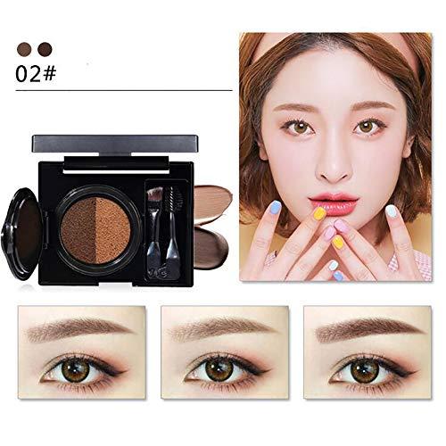 Xiton 2 Farbe Gel Augenbraue Luftkissen Augenbrauencreme Wasserdicht Und Glatt Augen Make-Up NatüRliche Augenbrauencreme Pinsel Enthalten(02)