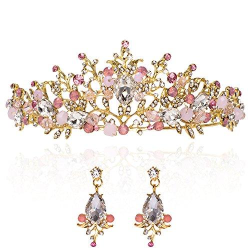 ut Tiara + Ohrringe Gold mit Pink Prinzessin Haarband Krone Stirnband Künstlichen Diamanten Diamond Kristall Strass Rhinestone Geschenk für Elegant Damen Geburtstag Foto LONGBLE (Gold Happy Birthday Tiara)
