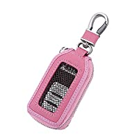 Car KeyChain Cover Premium Leather Key Chain Coin Holder Keyring Hook Wallet Zipper Case Remote Smart Key Fob Alarm Security (Pink)