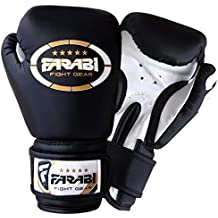 Guantes de boxeo para niños, guantes de combate de cuero sintético negros, ...