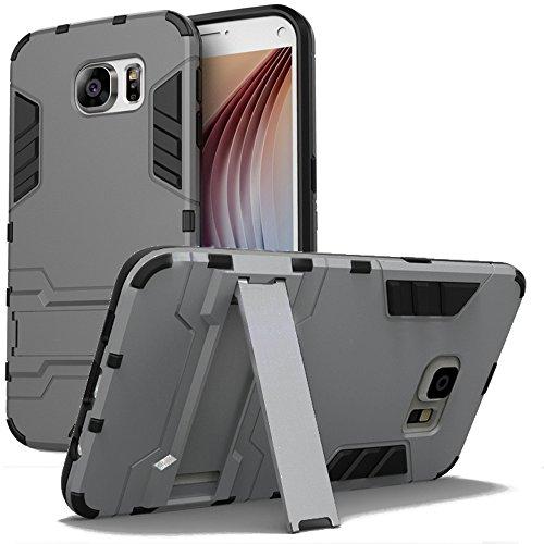 Custodia per samsung galaxy s7 - cover protettiva di protezione antiurto con supporto stand [tpu+pc] [ulta sottile] doppio strato hybrid hard case, anthracite grigio