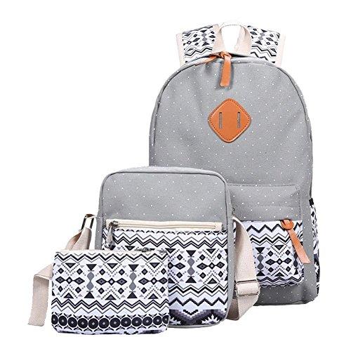 YiLianDa Schulrucksack Mädchen Canvas Rucksack Damen Schul Schulranzen Schultasche 3 in 1 Grau
