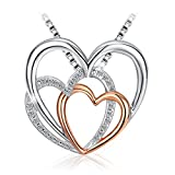 "Silver Heart Necklace, 925 Sterling Silver 5A Zirconia J.Rosée Pendant Necklace Hearts Together Mother's Day Gift Best Gift for Women Gift Packed 18""+2"" Extender"