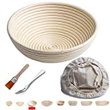 """Banneton Proofing Basket 10"""" Round Banneton Brotform for Bread and Dough [FREE BRUSH] Proofing Rising Rattan Bowl(1000g Dough) + FREE LINER + FREE BREAD FORK"""