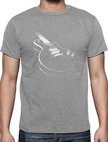 Geschenk für alle Musikfans mit E-Gitarre - Motiv T-Shirt Grau